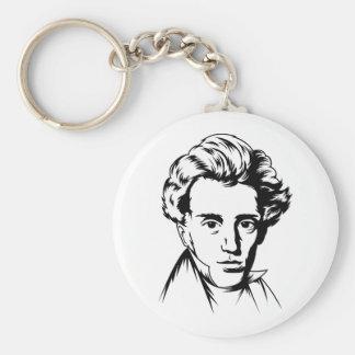 Soren Kierkegaard philosophy existentialist portra Basic Round Button Key Ring