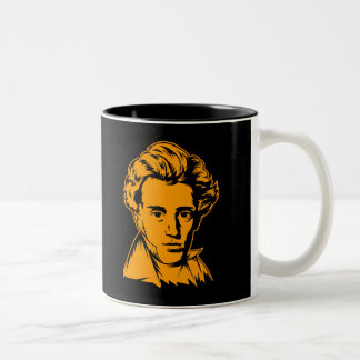 Soren Kierkegaard philosophy existentialist portra Two-Tone Mug