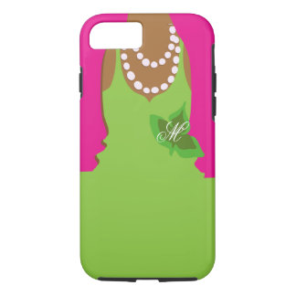 Sorority Life Pink Green Monogram iPhone 7 Case