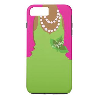 Sorority Life Pink Green Monogram iPhone 7 Plus Case