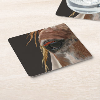 Sorrel and White Pinto Horse Eye Square Paper Coaster