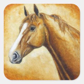 sorrel horse head square sticker