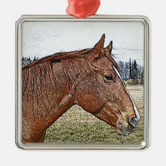Sorrel Horse Portrait Equine Art Illustration Christmas Ornament