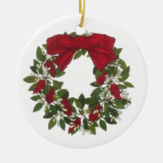 Sorrel /Poinsettia Wreath Round Ceramic Decoration