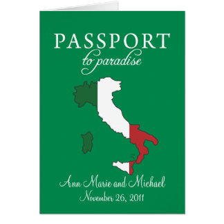Sorrento Italy Passport Wedding Invitation Note Card