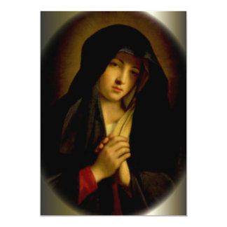 Sorrowful Virgin Mary with Folded Hands Personalized Announcement