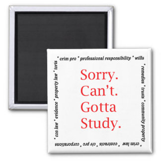 Sorry, Can't...Gotta study. Square Magnet