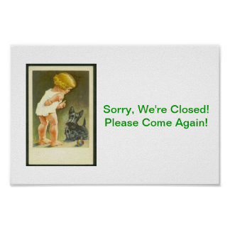 Sorry Closed Sign Vintage Girl Scottish Terrier Po Poster
