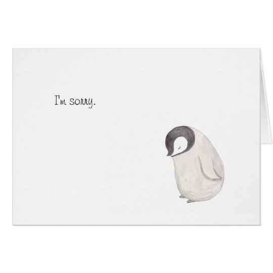 Sorry Cute Penguin Card by MiKa Art