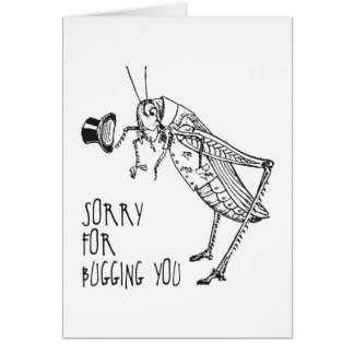 Sorry for bugging: Vintage grasshopper / cricket Greeting Card