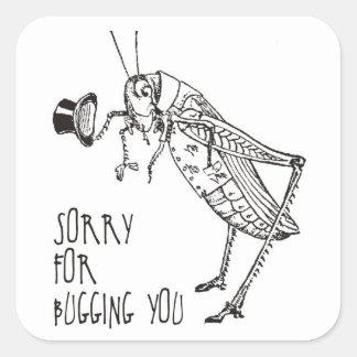 Sorry for bugging: Vintage grasshopper / cricket Square Sticker
