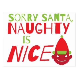 Sorry Santa NAUGHTY is nice! with cute evil grin Postcard
