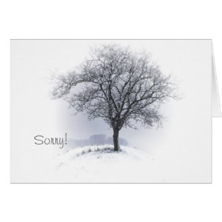 Sorry Tree standing alone winter scene customized Card