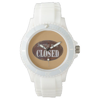 Sorry we're closed wrist watch