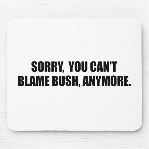 SORRY YOU CANT BLAME BUSH ANYMORE MOUSE MAT
