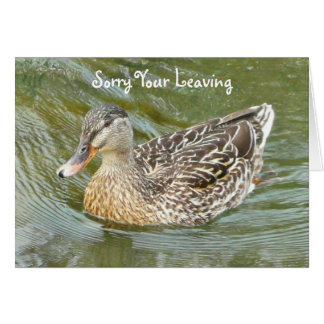 Sorry Your Leaving, duck greeting card