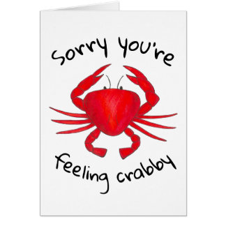 Sorry You're Feeling Crabby Red Crab Get Well Soon Card
