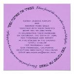 Soul Delight Hebrew Jewish Wedding Purple Lavender 13 Cm X 13 Cm Square Invitation Card