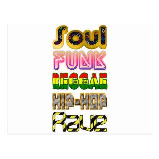 Soul, Funk, Reggae, Hip-Hop, Rave Postcard