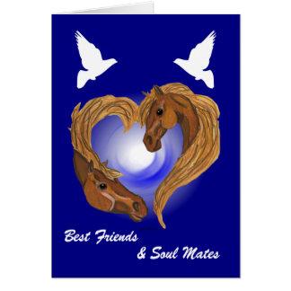 Soul Mated Heart Horse Head Greeting Card
