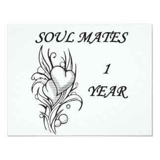 SOUL MATES 1 YEAR 11 CM X 14 CM INVITATION CARD
