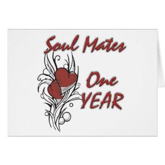 Soul Mates 1 year Greeting Card