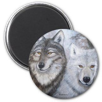 Soul Mates Wolves by Lori Karels 6 Cm Round Magnet
