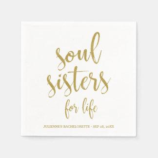 Soul Sisters for Life Glitter Bachelorette Disposable Napkins