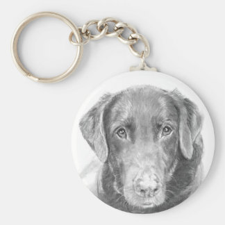 Soulful Chocolate Labrador Sketch Basic Round Button Key Ring