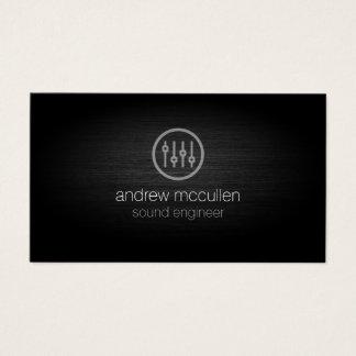 Sound Engineer Volume Sliders Icon Brushed Metal Business Card