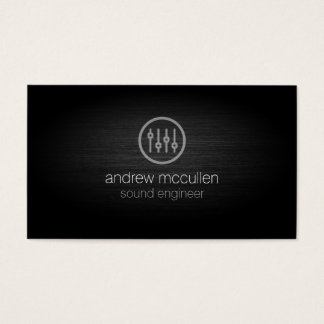 Sound Engineer Volume Sliders Icon Brushed Metal Business Card