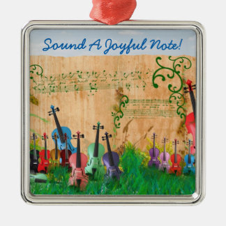 Sound Joyful Note Colorful Music Garden Custom Silver-Colored Square Decoration