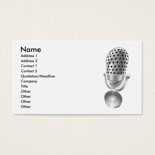 Sound retro microphone mic radio dj business card