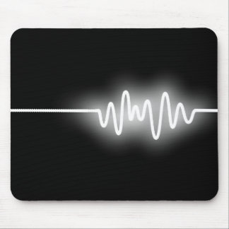 Sound Wave - White on Black Mouse Mat