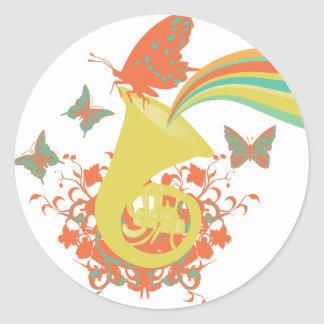 sounds of a horn vector design classic round sticker