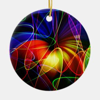 Soundwaves Neon Fractal Round Ceramic Decoration