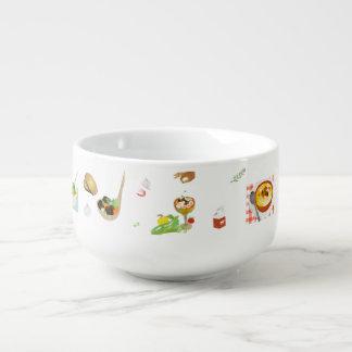 """Soup Bowl Featuring """"The Soup Pot"""" Cookbook Art Soup Bowl With Handle"""