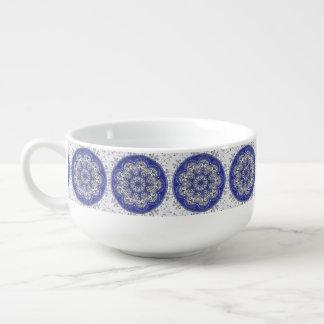Soup Mug Blue Mandala Pattern