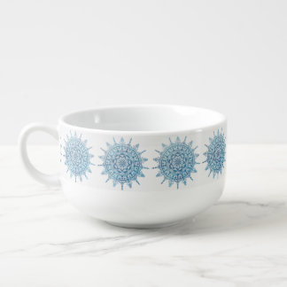 Soup Mug Blue Mandala Pattern