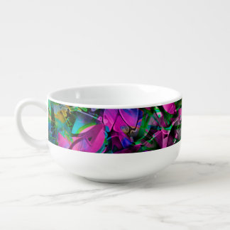 Soup Mug Floral Abstract Stained Glass