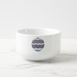 Soup mug with blue mosaic