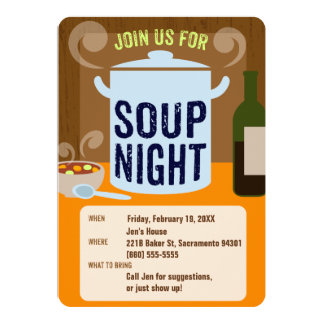 Soup Night Casual Dinner Party 13 Cm X 18 Cm Invitation Card