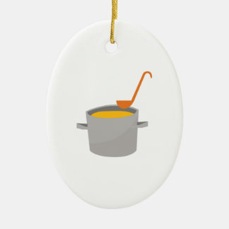 Soup Pot Double-Sided Oval Ceramic Christmas Ornament
