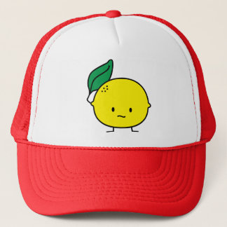 Sour yellow lemon leaf citrus fruit lemony trucker hat