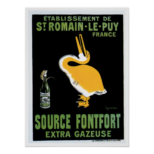 Source Fontfort Champagne Vintage Drink Ad Art Poster