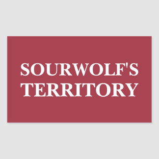 Sourwolf's Territory (Customizable text and color) Rectangular Sticker