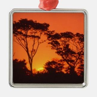 South Africa.  African sunset. Silver-Colored Square Decoration