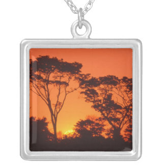 South Africa.  African sunset. Silver Plated Necklace
