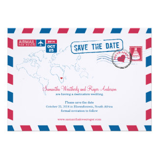 South Africa Air Mail Wedding Save The Date Card