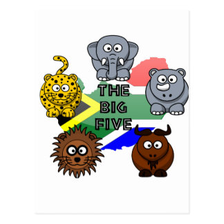 South Africa Big Five Cartoon Illustration Postcard